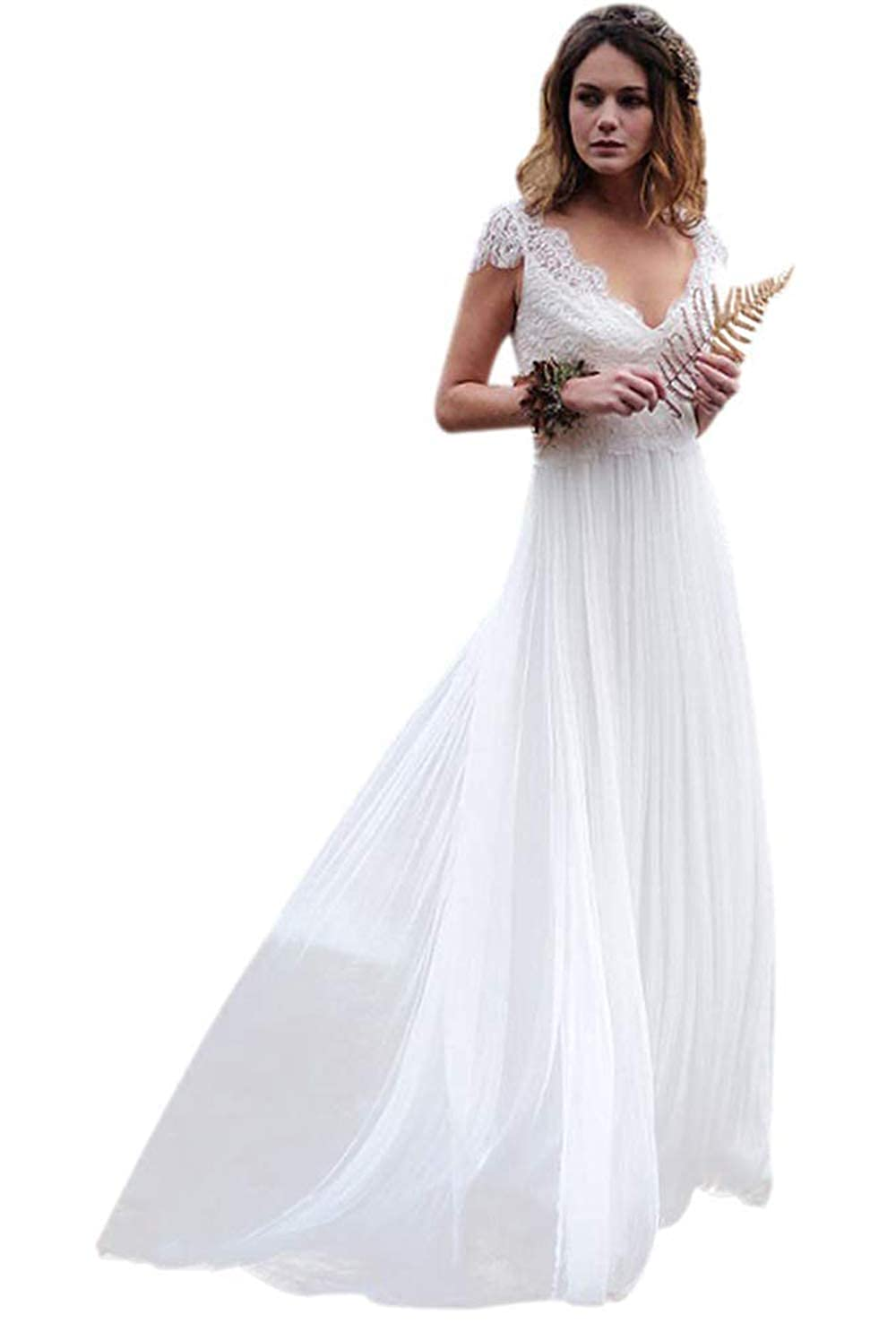 9a245afebbc Ellenhouse Women s V-Neck Boho Wedding Dresses Bohemian Lace Bridal Gowns  at Amazon Women s Clothing store