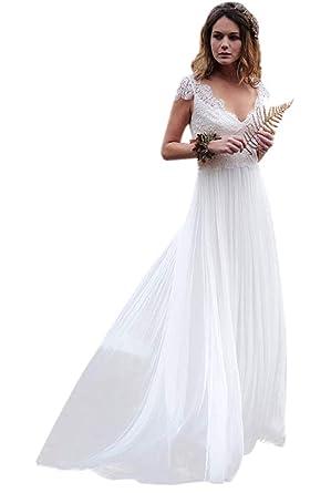 7b5bf190a8cd Ellenhouse Women's V-Neck Boho Wedding Dresses Bohemian Lace Bridal Gowns  at Amazon Women's Clothing store: