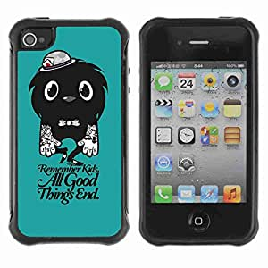 A-type Arte & diseño Anti-Slip Shockproof TPU Fundas Cover Cubre Case para Apple iPhone 4 / 4S ( Funny Cute Tattoo Monster )