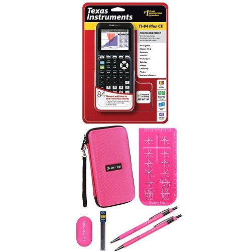 Texas Instruments TI-84 Plus CE Graphing Calculator With Travel Case, And Essential Graphing Accessory Bundle, Pink