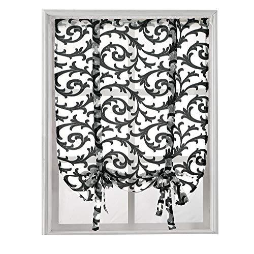 Jacquard Rod Pocket Curtains - NAPEARL Tie Up Curtain Rod Pocket Short Balloon Organza Jacquard Sheer Valance (55