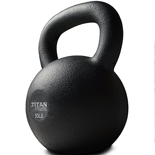 Cast Iron Kettlebell Weight 50 lb Natural Solid Titan Fitness Workout Swing