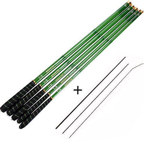 Cheap Goture 1 Piece Hard Carp Fishing Pole, Carbon Fiber Ultralight Telescopic Fishing Rod 10FT 12FT 15FT 18FT 21FT 24 FT+ Free Tip Set (Top 3 Segments)