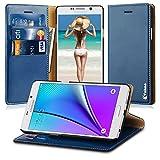 Vakoo Slim PU Leather Flip  Wallet Case for Samsung Galaxy Note 5 - Navy Blue