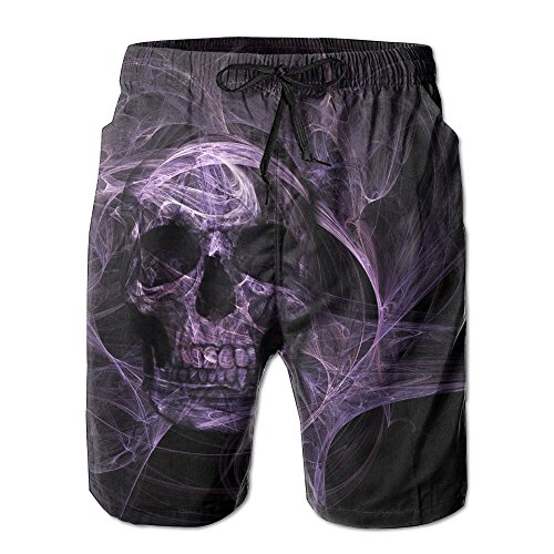 SVVOOD Mens Beachwear Swim-trunks Quick-drying Dark Skull Evil Surf Board Shorts With Telescopic Tape X-Large ()