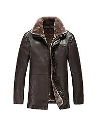 TEERFU Men's Winter Warm Sheep Skin Leather Coat Jacket Lamb Wool Lined