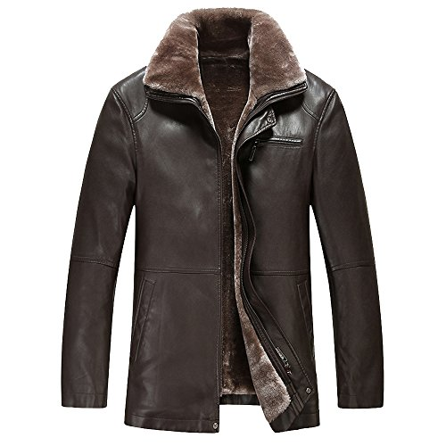 - TEERFU Men's Winter Warm Sheep Faux Leather Coat Jacket Lamb Wool Lined,US XL : Chest 51.6'',Brown