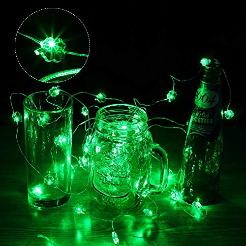 St Patrick's Day Shamrocks String Light 40 LEDs 13.1 Feet Four-Leaf Clover Fairy Light Copper Wire Battery Operated…