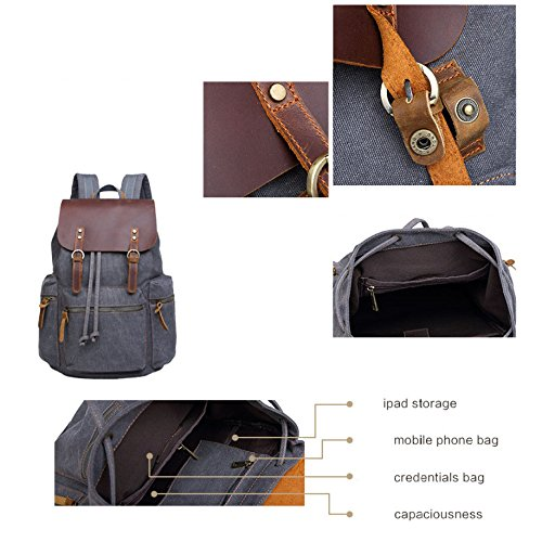 USB para Al Aire De OneSize Khaki De Innovadora YXLONG Estilo Americano gray Marea Gran Y Mochila Europeo Hombre Libre Lona Mochila Capacidad Mochila Zqq8Tn5Uw