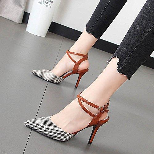 Brown punta fina Baotou con claros con colores las Qiqi mujer tacón sandalias zapatos de tiras transversales sandalias Xue de XSgFUnw