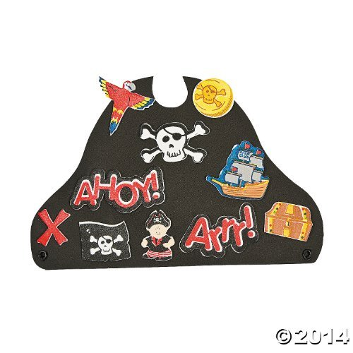 12 ~ Foam Pirate Hats with Stickers ~ Includes Vinyl Expandable Coil Bands and 426 Self-adhesive Foam Shapes ~ Approx. 9 1/2