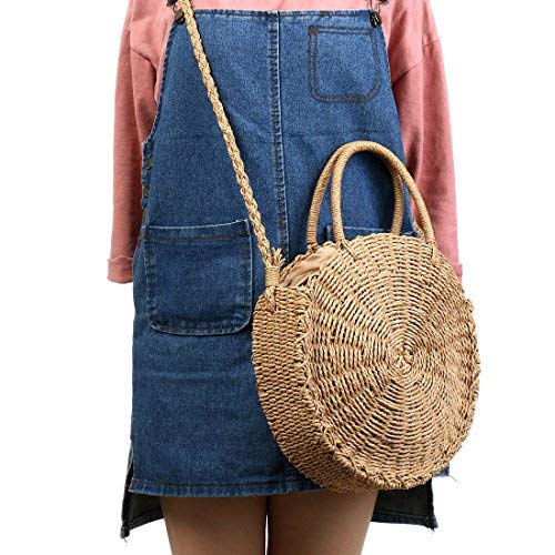 Purse Shoulder Ladies Bag Khaki Summer Beach Crochet Crossbody Straw Handle Fashion Crossbody Top Women Woven Round RvwqPT5f