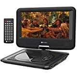 Criacr 11.5'' Portable DVD Player, 9.5'' Swivel Screen, Built-in 6-Hour Rechargeable Battery, USB Port, SD Card Slot Support, Power AC Adapter and Car Charger Included - (Remote Control)