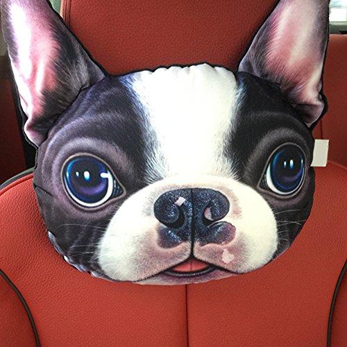3D Printed Dog Face Car Seat Pillow Car Neck Pillow Headrest Lovely Auto Safety Headrest Car Interior - Asian Sit Face