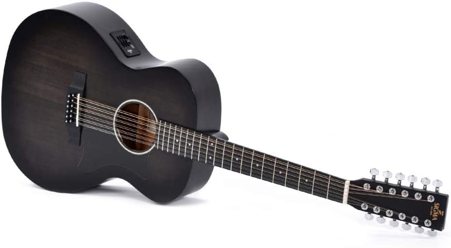 Sigma GM12E-BKB - Guitarra western (12 cuerdas, con pastilla)
