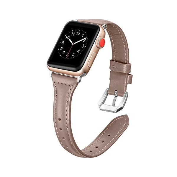 Secbolt-Leather-Bands-Compatible-Apple-Watch-Band-38mm-40mm-Slim-Replacement-Wristband-Sport-Strap-for-Iwatch-Nike-Series-4-3-2-1-Edition-Stainless-Steel-Buckle