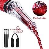 Levin Wine Aerator Pourer Decanter Spout-Double Premium Instant Bottle Air Accessories Kit with Vacuum Stopper and Foil Cutter Black