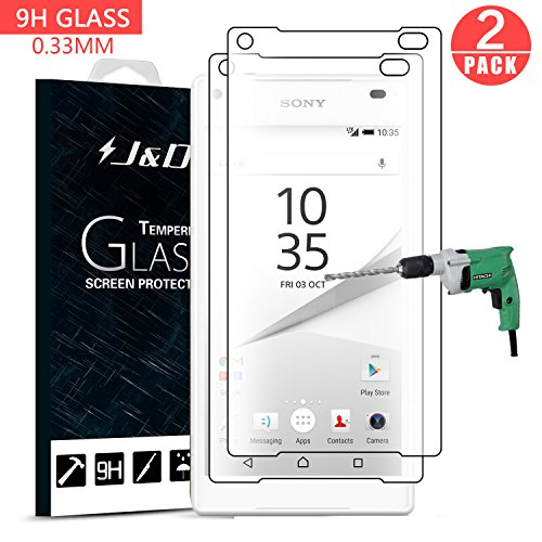 J&D Compatible for 2-Pack Xperia Z5 Compact Glass Screen Protector, [Tempered Glass] [Not Full Coverage] HD Clear Ballistic Glass Screen Protector for Sony Xperia Z5 Compact Screen Protector (Protector J Screen Sony Xperia)