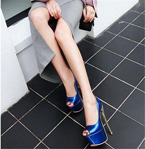 Taille Pompes Soirée Fête Club 41Eu35 Doigt Sandales Pied Des eu35 Mariage Ouvrir De Gaogenx Plate Femmes Talon Chaussures Pour Blue Et forme Aiguille 35 À Yb6Imf7gyv