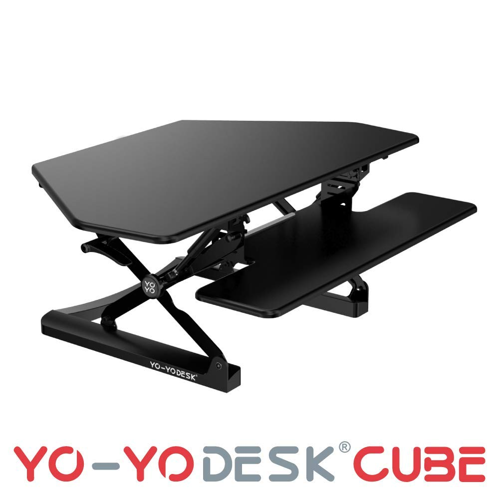 Yo-Yo DESK CUBE [Black, 105cm Wide] Cubicles Corner Height Adjustable Standing Desk. Superior sit-Stand Solution Suitable for All workstations and Standing Desk workplaces (Black)