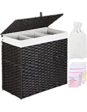 Greenstell Laundry Hamper with 2 Removable Liner Bags & 5 Mesh Laundry Bag, 3 Sections Divided Hampers Handwoven Synthetic Rattan Laundry Basket with Lid and Handles, Easy to Install Panier à Linge