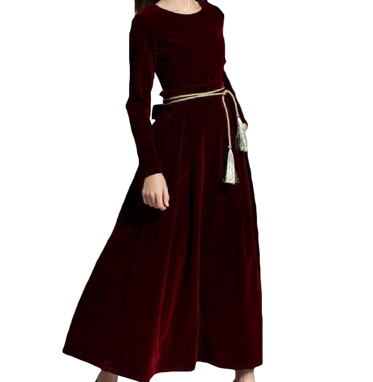 Abetteric Women Fall Winter Solid Colored Elegant Velvet Banquet Dress