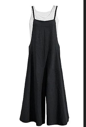 Amazoncom Zimaes Women Suspenders Solid Plus Size Wide Leg Simple