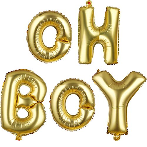 Oh Baby Boy Letters - BBTO 2 Pack Oh and Boy Balloons Banners Alphabet Foil Letter Balloon Decoration with Gold Rope for Baby Shower Birthday Party Gender Reveal Party
