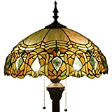 Tiffany Style Floor Standing Lamp 64 Inch Tall Green Red Bend Stained Glass Shade 2 Light Antique Base for Bedroom Living Room Reading Lighting Coffee Table Set S508G WERFACTORY