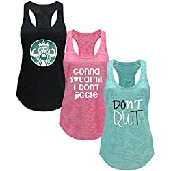 Tough Cookie's Women's Gym Athletic Workout Tank Top 3 Pack Deal #2 (Large - LF, Black/Pink/Mint)