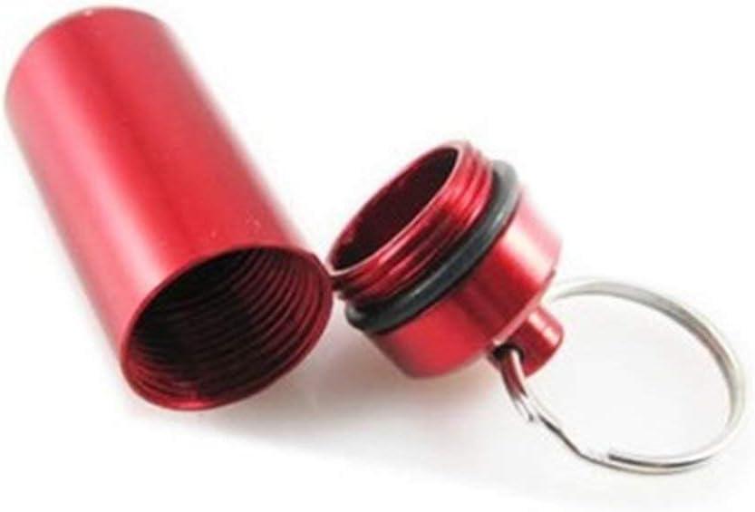 Gwendoll 1 pc Mini Portable en Aluminium Imperm/éable /À leau en Aluminium Pilule Bo/îte /À Bouteilles Conteneur De Conteneur avec Porte-cl/és