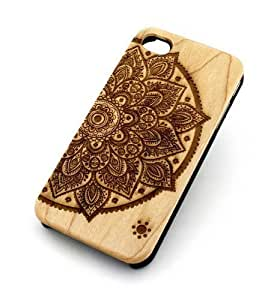 GENUINE WOOD Organic Snap On For Case Iphone 4/4S Cover - LOTUS MANDALA half hindu ganesh buddhist indian flower floral
