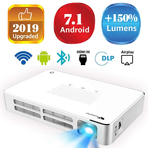 Mini Projector WOWOTO A5 100ANSI Android 7.1 Portable DLP Video Projector 150″ Home Theater Projectors with BT4.0 Support WiFi Wireless Screen Share 1080P HDMI USB SD Card
