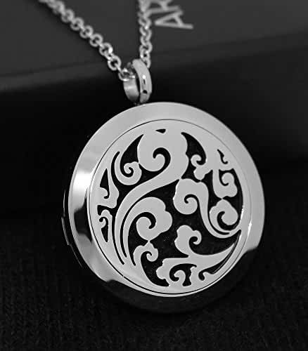 AromaRain Breeze Aromatherapy Essential Oil Diffuser Necklace - 316L Stainless Steel Locket and 24