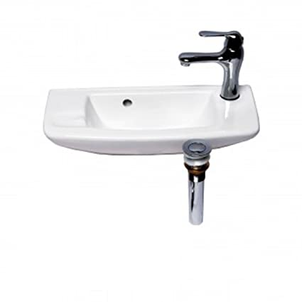 Wall Mount Sink WITH FAUCET AND DRAIN White Bathroom Overflow Stopper Self  Draining Soap Dish 8.25u0026quot