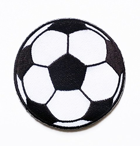 HHO Black Football Soccer Cartoon Patch Embroidered DIY Patches, Cute Applique Sew Iron on Kids Craft Patch for Bags Jackets Jeans (Black Embroidered Football)