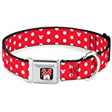 """Buckle-Down Seatbelt Buckle Dog Collar - Minnie Mouse Polka Dot/Mini Silhouette Red/White - 1.5"""" Wide - Fits 18-32"""" Neck - Large"""