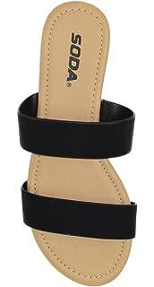 a4410b91b0599 SODA Shoes Women Flip Flops Flat Basic Gladiator Sandals Beach Slides  Double Straps Browse-S