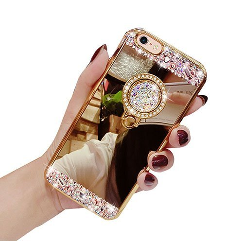 iPhone 6/6s 4.7 Luxury Rhinestone Makeup Case,Auroralove iPhone 6/6s Handmade Bling Diamond Soft TPU Mirror Glass Case for Girls Women with Detachable Ring Stand-Gold