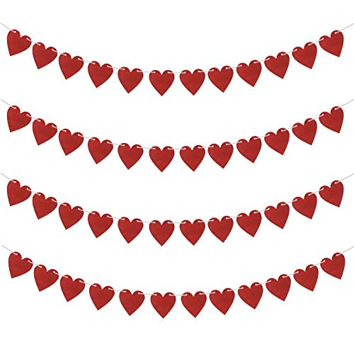 Red Heart Garland Banner Decorations for Wedding Anniversary Day, Wedding, Propose,Engaged Party Decorations, 4pcs