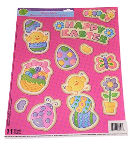 Greenbrier Easter Reusable Glitter Window Clings ~ Happy Easter, Chick Dancing on Egg, Ladybug and More! (11 Clings, 1 Sheet)