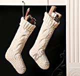 """Pack 4, 18"""" Unique Burgundy and Ivory White Knit Christmas Stockings"""
