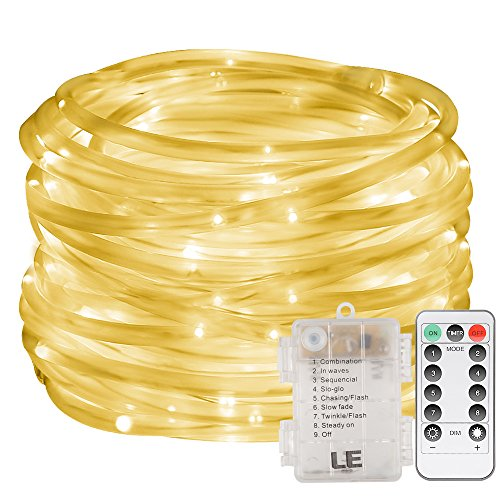 (LE LED Rope Light with Remote, Battery Powered, Dimmable, Warm White, Waterproof, 33ft 120 LED Indoor Outdoor Light Rope and String for Deck, Patio, Bedroom, Boat, Camping, Landscape Lighting and More)