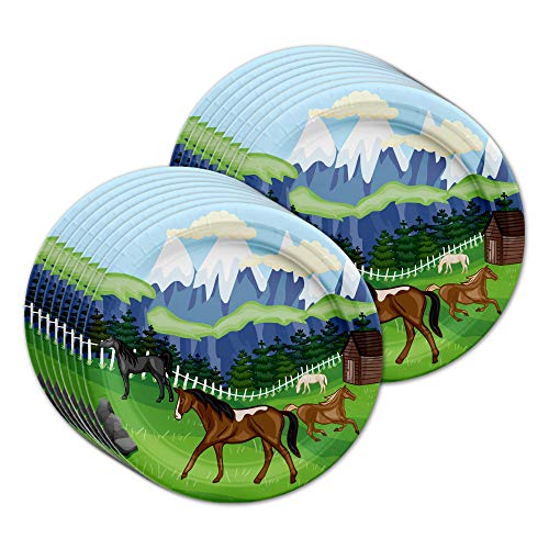 Horse Birthday Plates - Wild Horses Birthday Party Supplies Large 9