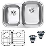 Ruvati RVM4315 Undermount 16 Gauge 32  Kitchen Sink Double Bowl, Stainless Steel