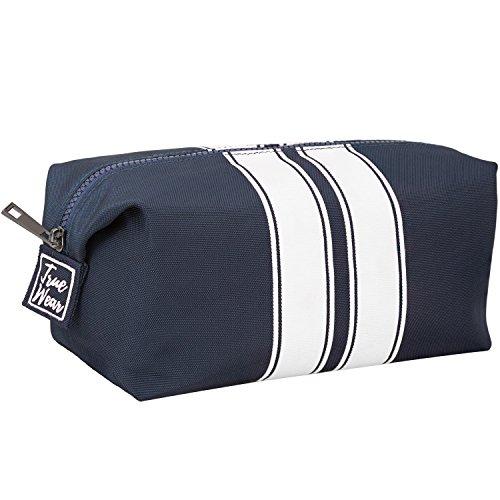 Toiletry Bag Shaving Dopp Kit for Men Navy Blue with White stripes – Stylish Unique Travel Organizer Wash Bag - Modern design