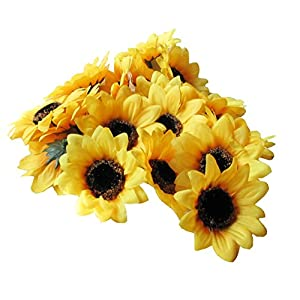 "Colorfulife Artificial Silk Sunflower Head 2.8"" Simulation Flower Beautiful Wedding Home Party Decor Hair Decorative 9"