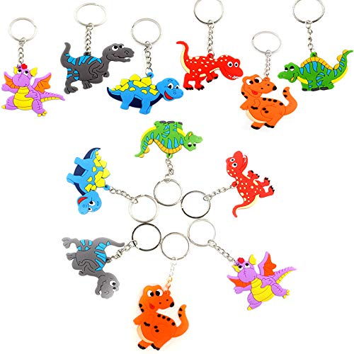 Bozoa Mini Dinosaur Keychains Rubber with Key Ring Decoration Birthday Party Favor Supplies Party Gifts(24 Pcs)