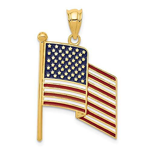 14k Yellow Gold Enameled Waving American Flag Pendant ()
