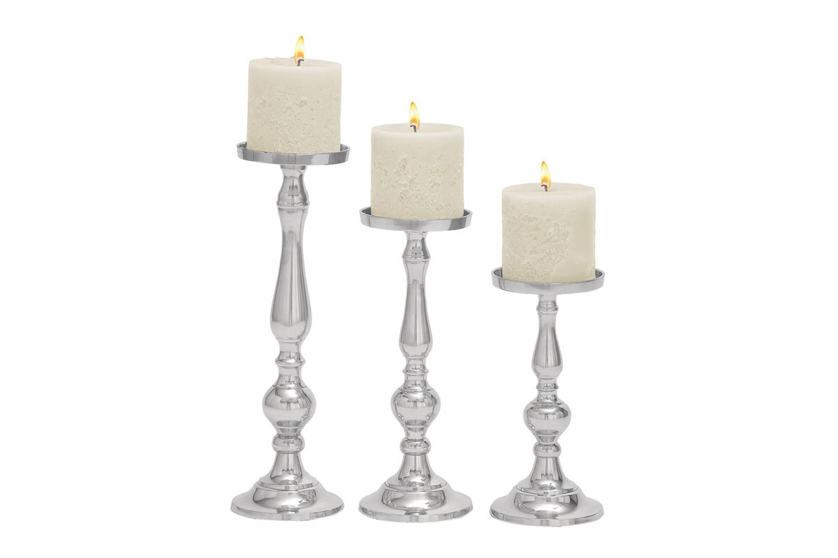 Deco 79 Aluminum Candle Holder, 16 by 13 by 10-Inch, Set of 3
